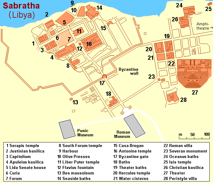 Libya Ancient Sabratha Roman City Map Sealiberty Cruising
